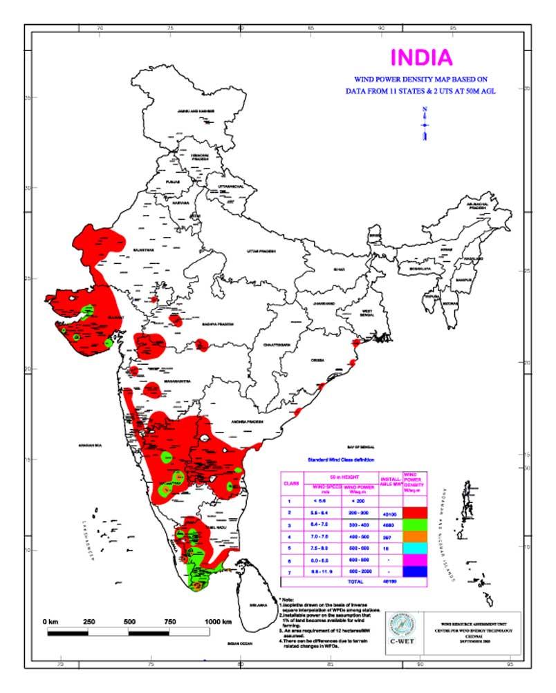 Wind Power Density Map